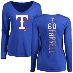 Women's Luke Farrell Texas Rangers Backer Slim Fit Long Sleeve T-Shirt - Royal